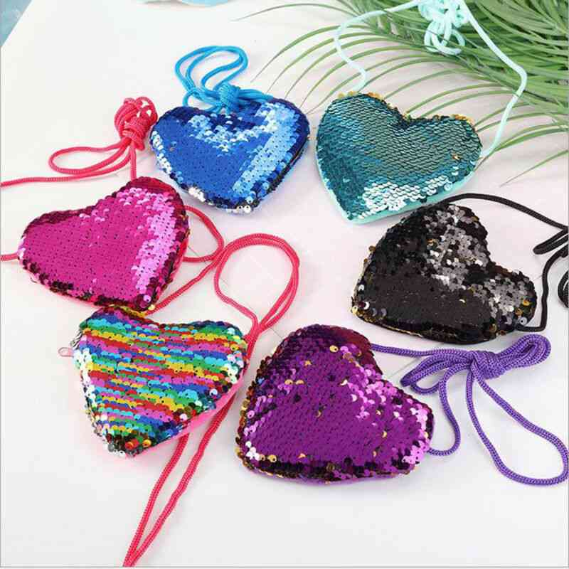 Heart Shape, Sequins, Small And Fashionable Sling Bag