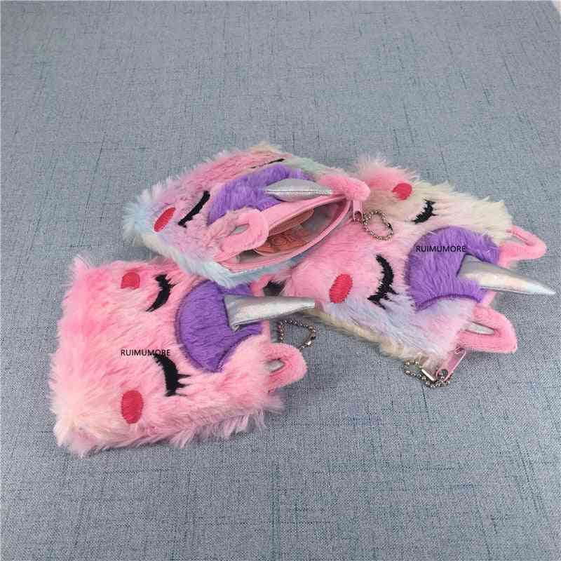Sweet Lovely Unicorn Design, Fluffy Plush Purse-coin Pouch