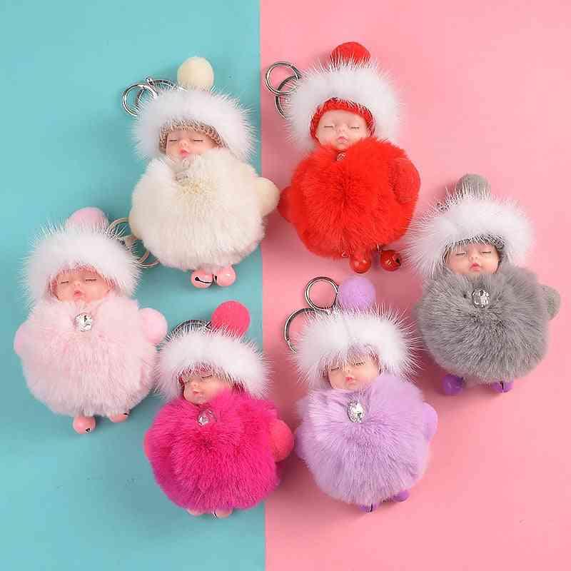 Cute Sleeping Baby Doll, Fluffy Pom Pom-faux Fur Plush Keychains