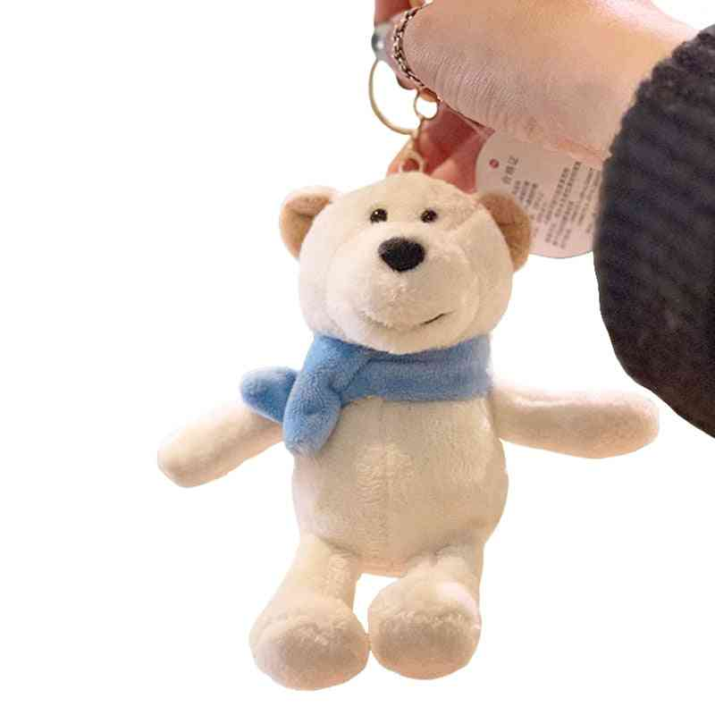 Cute Cartoon Animal Plush Toy- Backpack Keychain 15cm Wearing Scarf Polar Bear Bow Tie Teddy Bear Small To Friends