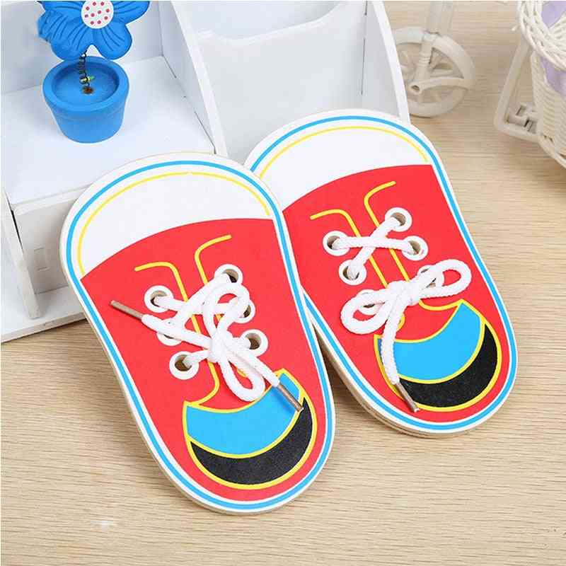 Montessori Educational Wooden For Early Learning Lacing Shoes, Tie, Shoelaces