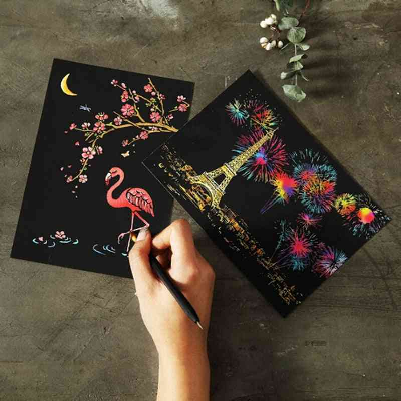 Magic Colorful - Paper Painting Scraping, Learning Education Drawing Board