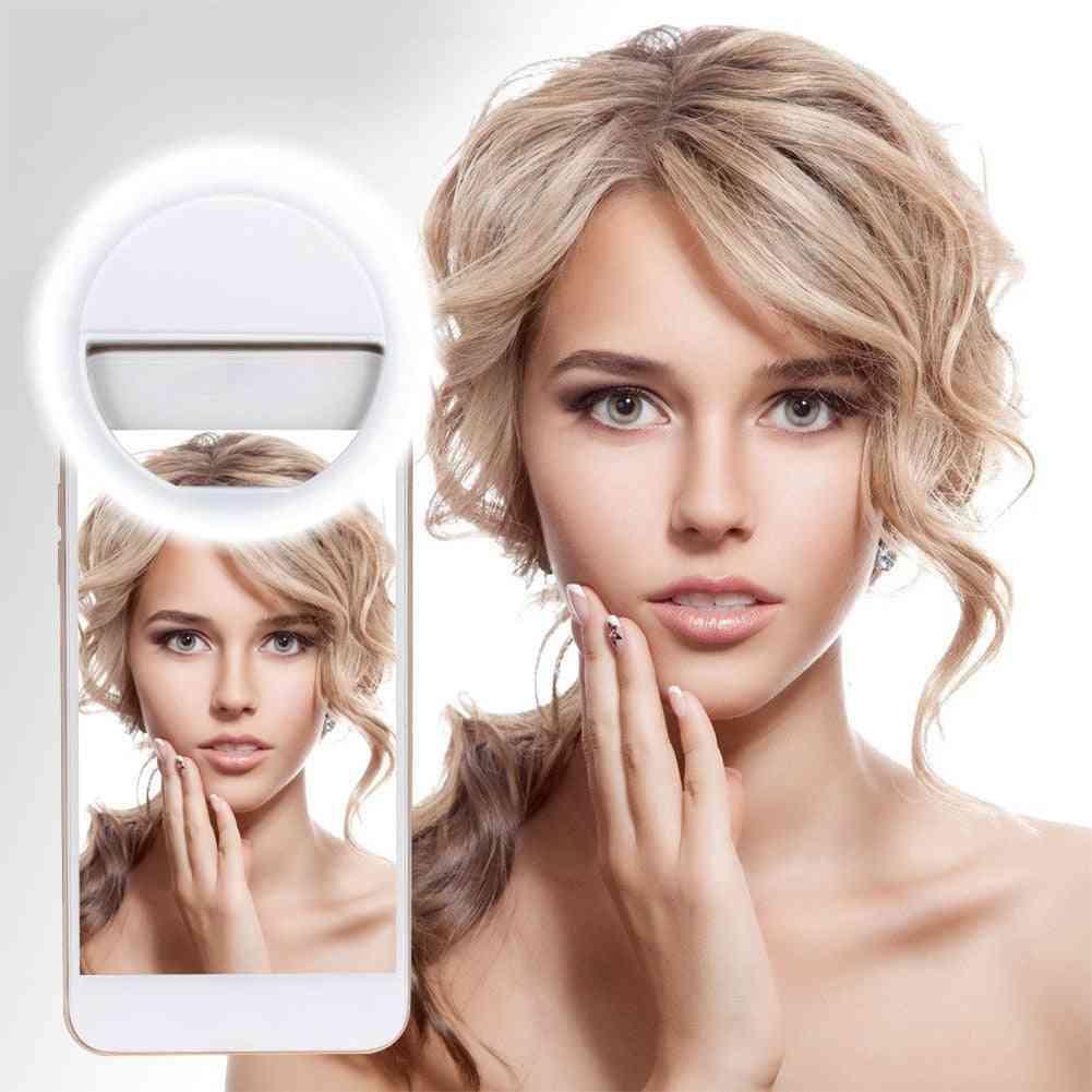 Mini Ring-light-led, Cheaper Chargable 3-level Brightness Led-light, Build In Battery For Phone-camera Selfie-photography