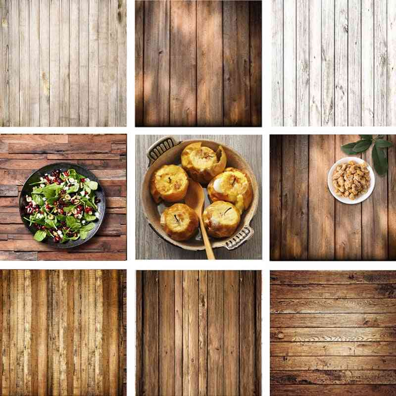 Retro Wood Board Backdrop Food Photography Background Texture Studio Video Photo Backgrounds Props Decoration 60x60cm