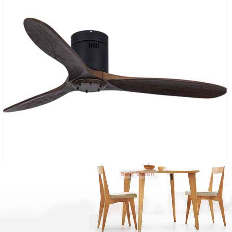Wooden Led Light Ceiling Fan With Remote Control For Living Room, Bedroom