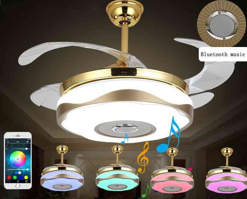 Modern Alloy Acryl Abs Bluetooth - Musical Ceiling Fan With Led Lamp