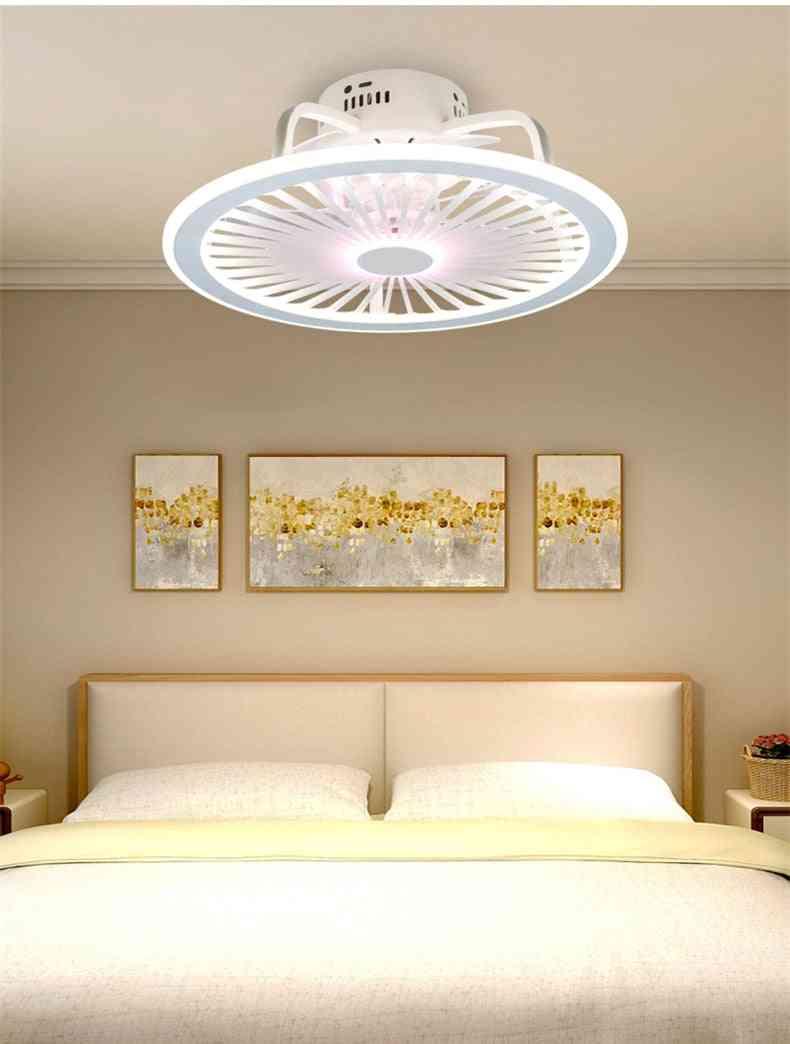 Modern Minimalist White Painted Iron Ceiling Fan Light Crystal Decorative