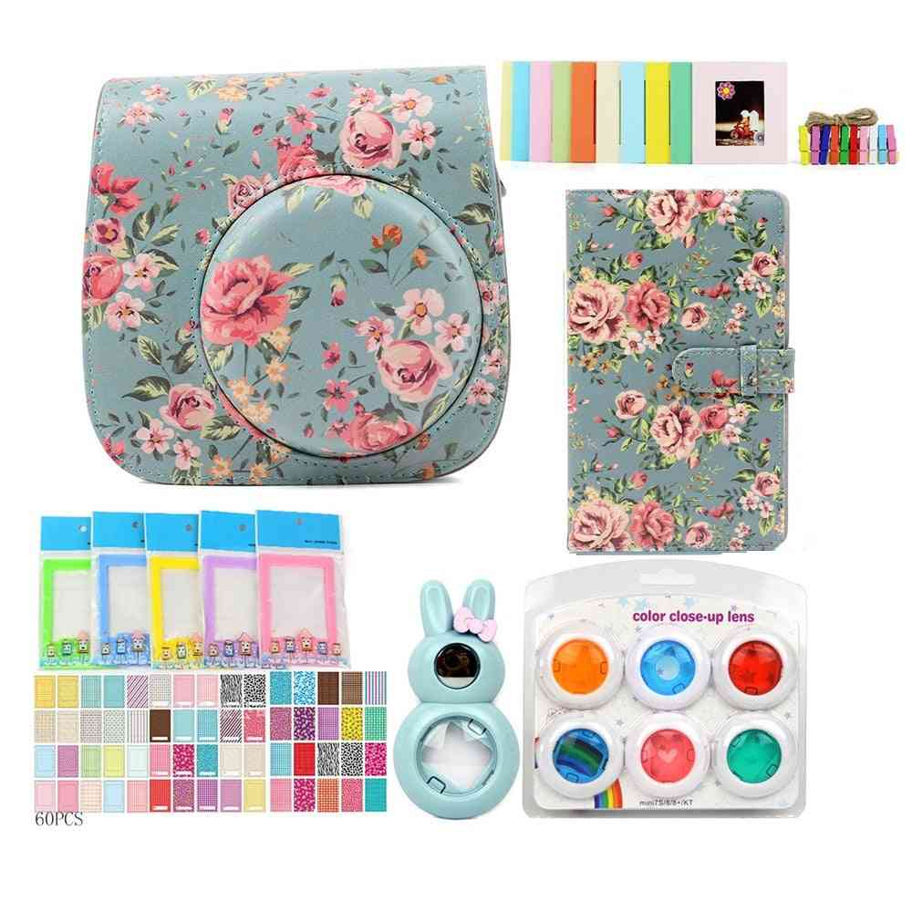 Pu Leather-bag-case With 3-inch 96-pockets Brightly-mini-film Photo-album /stickers