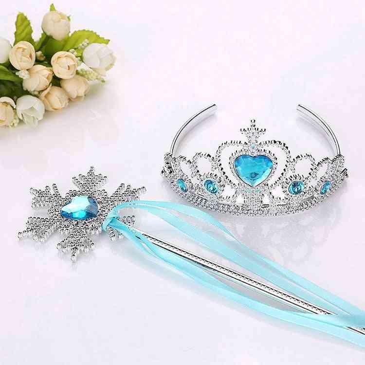 Frozen 2 Headband Elsa Princess Crown Cosplay Baby, Snowflake Magic Stick Party Birthday Photo Prop