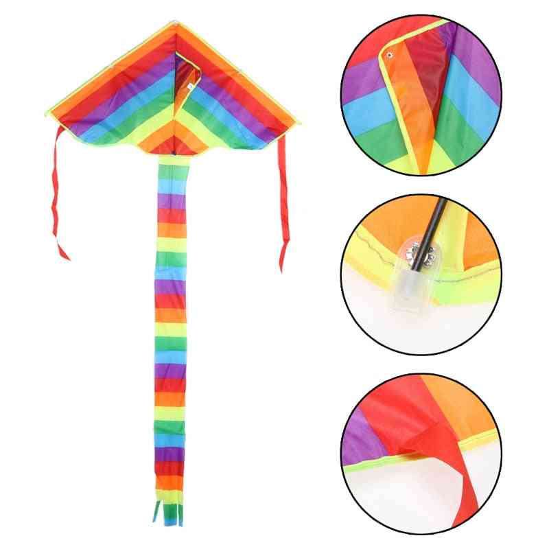 Rainbow Kite Toy , Outdoor Fun Sports Game - Triangle Flying Kite Easy To Fly
