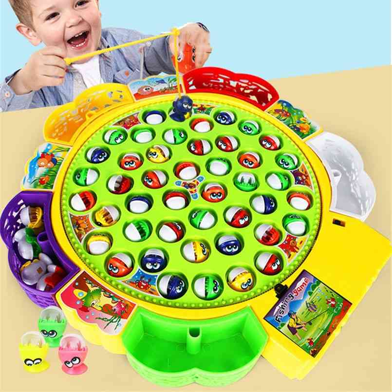 Electric Musical Rotating Fishing Toy For - Magnetic Board Play Fish Game
