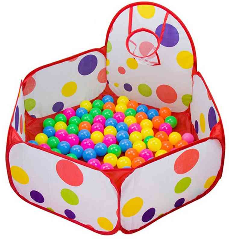 Kids Playpen Baby Ball Pit - Portable Pool Child Play Tent With Basketball Hoop