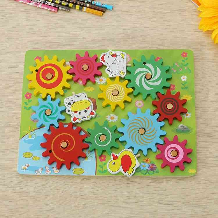 8 Style, Wooden Educational, Gear Combination Toy For