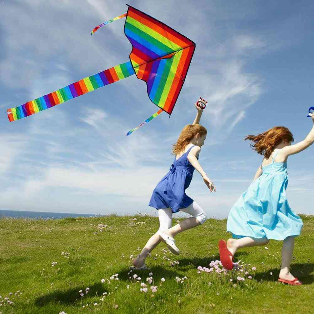 Large Colorful Rainbow Kite With Long Tail And Handle