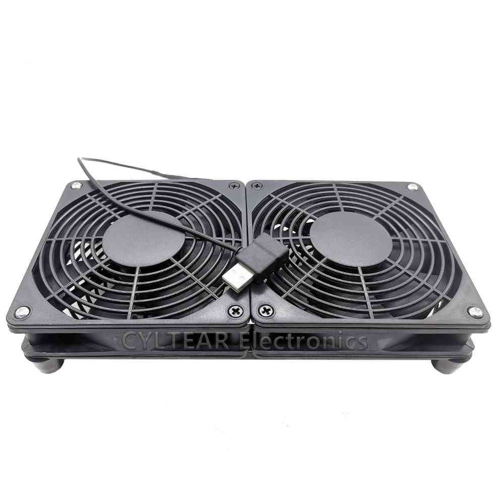 Router Cooling Usb Fan With Protective Net, Foot Columns And Screws For Pc , Tv Box