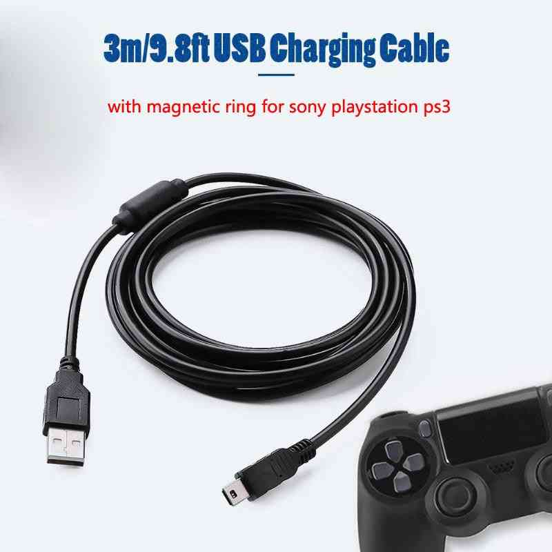 3m/9.8ft Usb Charging Cable With Magnetic Ring For Ps3 Wireless Controller Usb Charger For Sony Playstation Ps3 Accessories