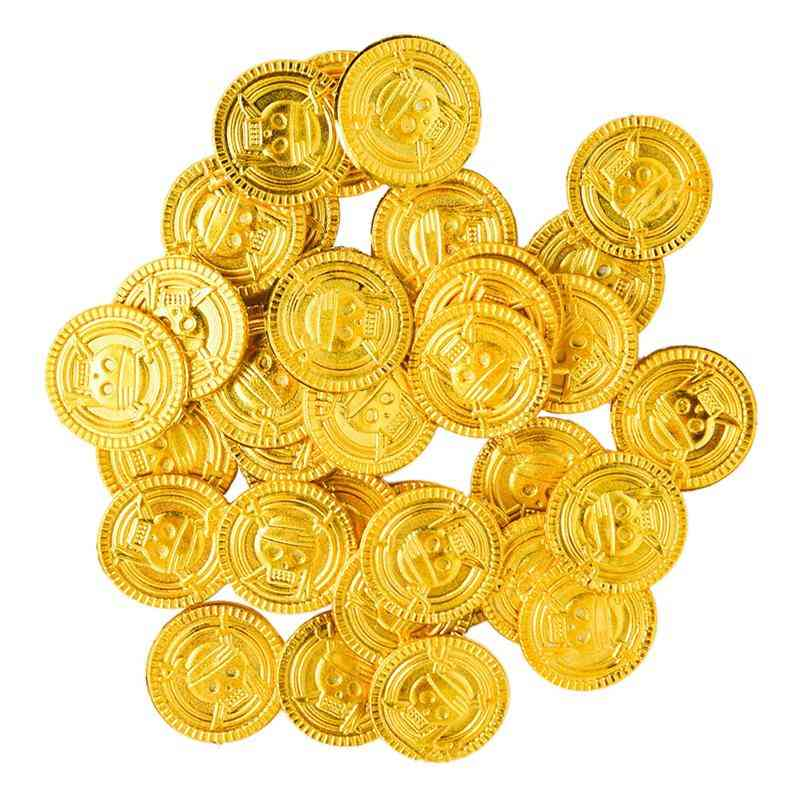 100pcs Plastic Gold Coins Fake Party Favor Treasure Coins Money Toy For Kids