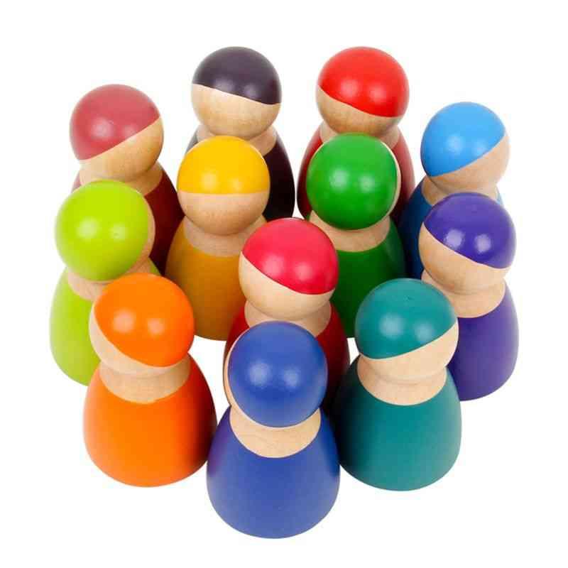 Montessori Set Of 12 Rainbow Friends Peg Dolls Wooden Pretend Play