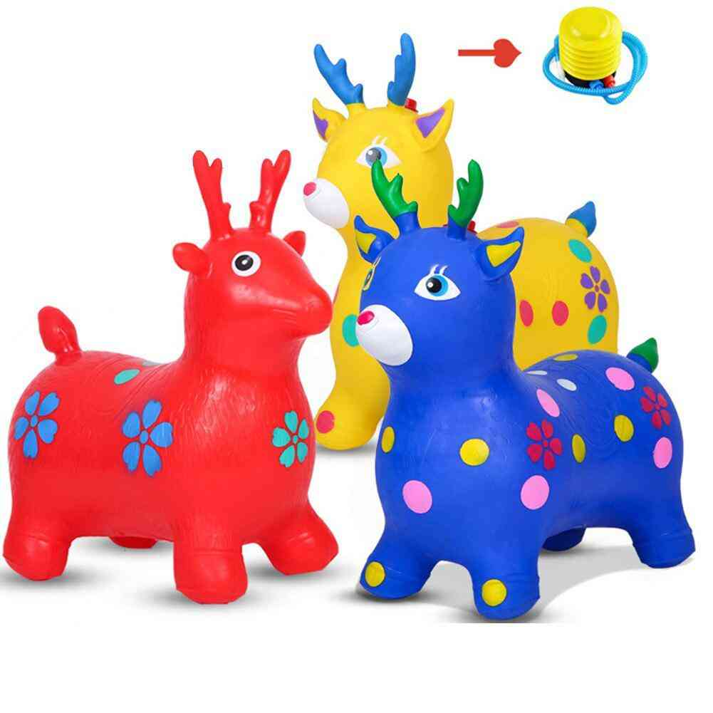Kid Inflatable Horse Hopper Outdoor Baby, Thicken Riding Jumping Horse Play House Christmas