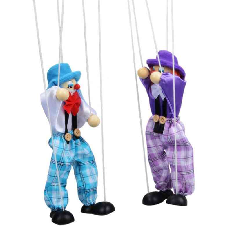 Funny Colorful Pull String Puppet Clown Wooden Marionette - Handcraft Classic Toy