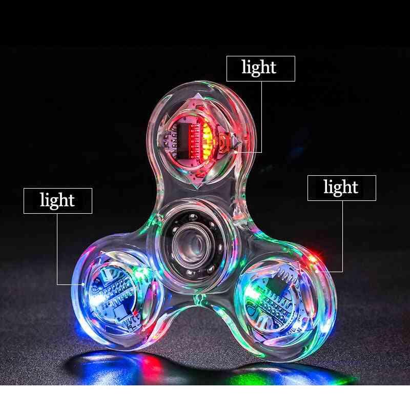 Led Light Fidget Spinner Anti Stress, Tri-spinner Kinetic Gyroscope For