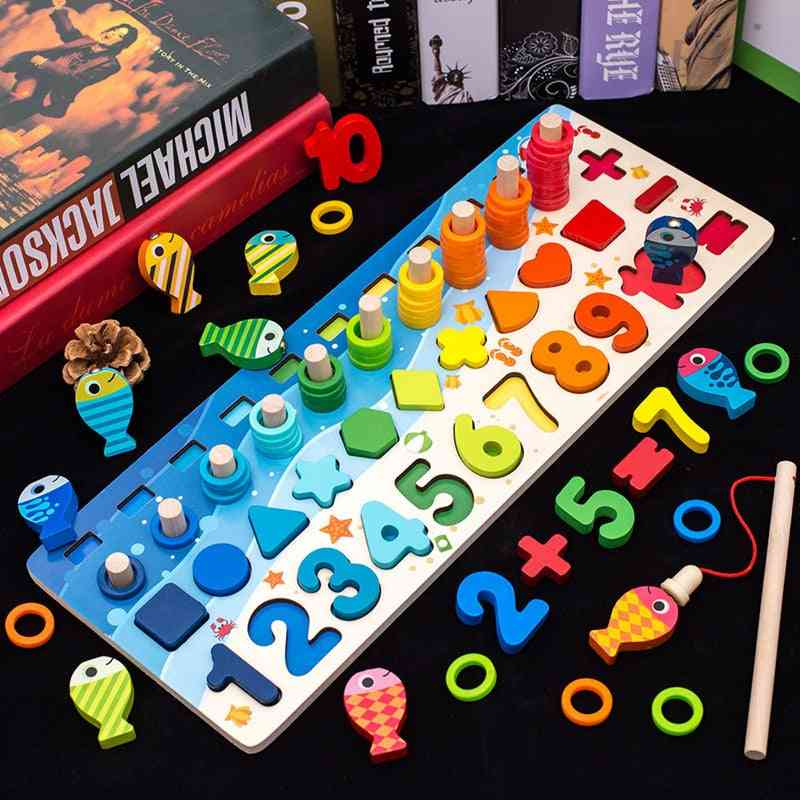 Kids Wooden Montessori Digit Magnetic Fishing Toy Games - Educational Puzzle For