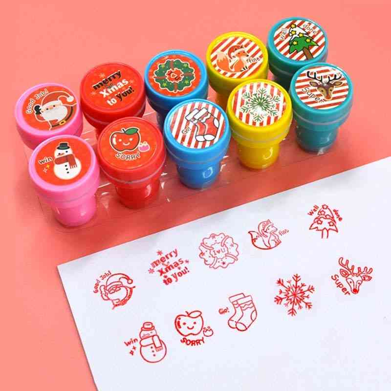 Christmas Pattern Self-ink Seal Stamps, Diy Scrapbook Toy