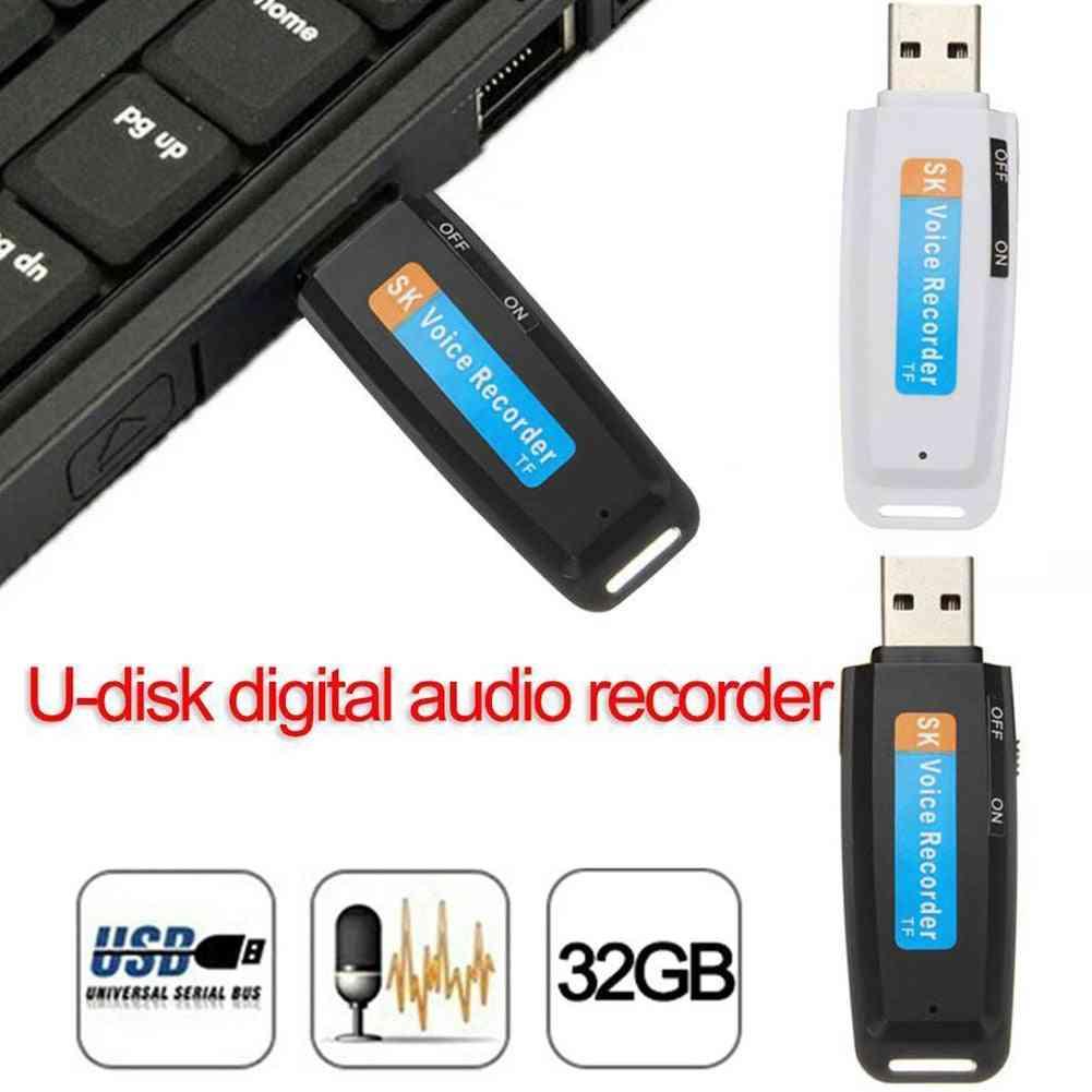 Portable Support Tf Card Pen, Audio Professional Plastic Wav Mini Rechargeable Voice Recorder - U Disk Digital Usb Flash Drive