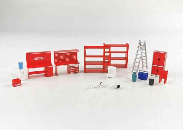 1/64 Model Scene Set, Shelf Table Chair Ladder Water  Garage Auto Repair Maintenance Tool (red)