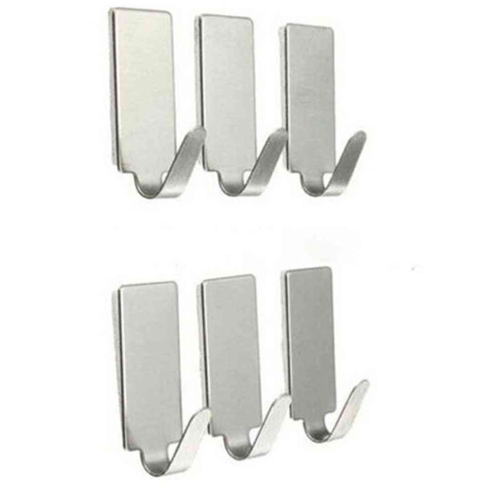 Stainless Steel, Adhesive Hooks Stick Holder For Clothes