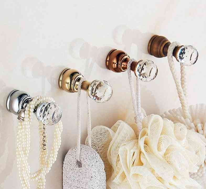 Crystal Hook, Antique Brass Wall Clothes, Robe Hook For Bathroom