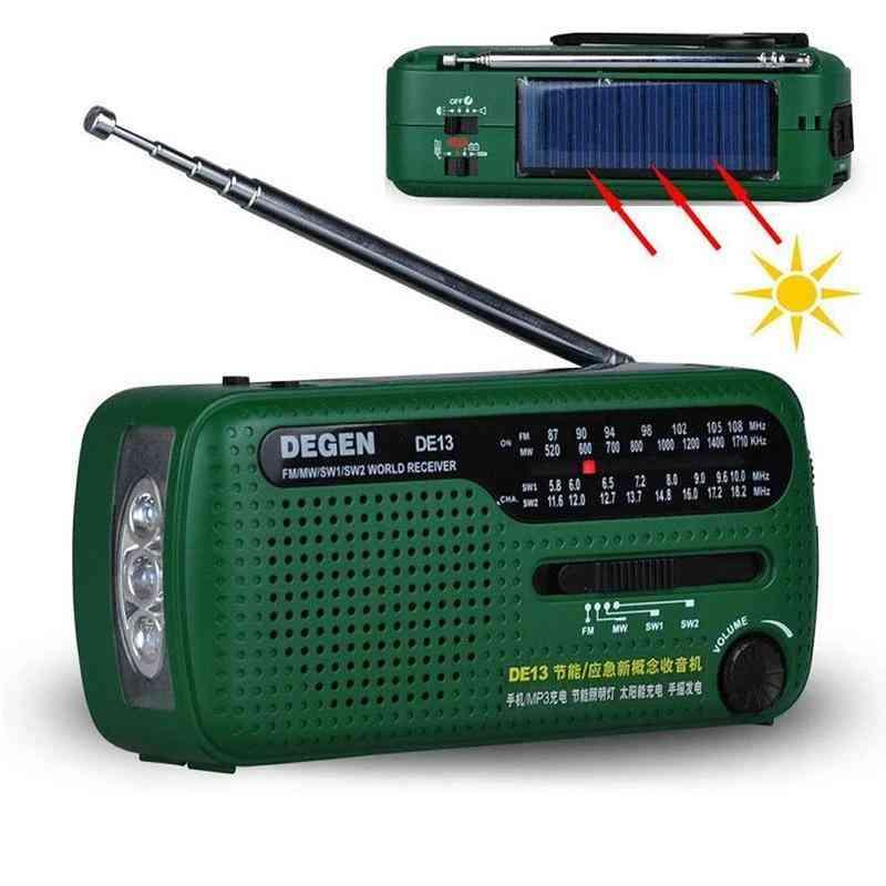 De13 Fm Am Sw Crank Dynamo Solar Power Emergency Radio Global Receiver