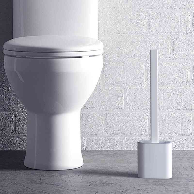 Silicone Wc Toilet Brush - Wall Mounted, Flat Head, Flexible Soft Bristles Brush