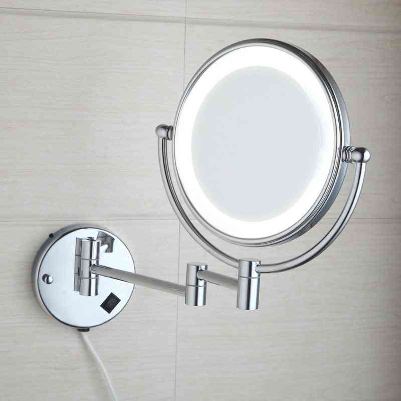 Led Mirror, Wall Mounted Extending Folding, Double Side For Bath And Toilet