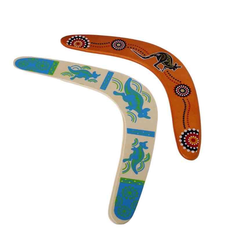 Kangaroo Printed, V Shaped Throwback-wooden Boomerang For Outdoor Games