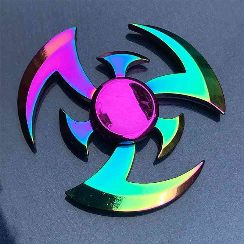 Rainbow Plating Fidget Metal Hand Finger Spinner, Stress Relief, Relax Horse, Peacock Shape For Adult Kids