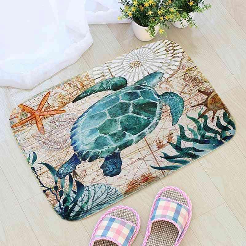 Sea Creature Printed, Non-slip Doormat