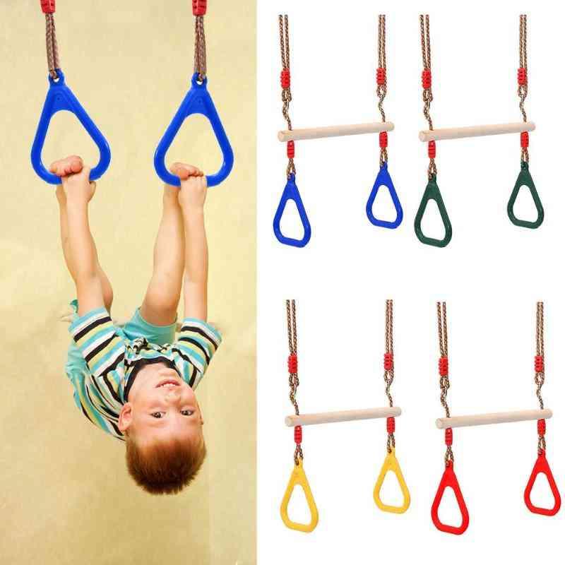 Hand Rings Wooden Swingset - Fitness, Activity Game