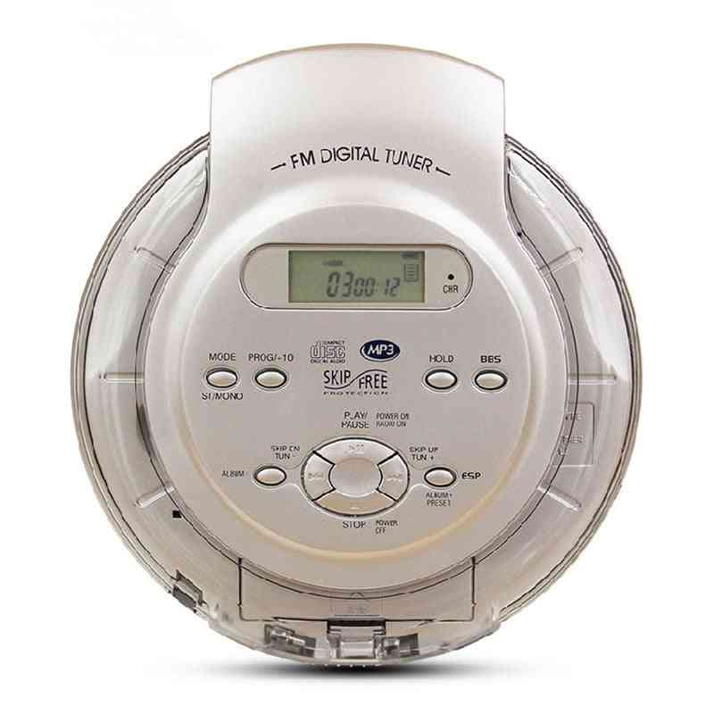 Portable Cd Player, Walkman Bass Boost System - High Quality Music Shockproof Discs