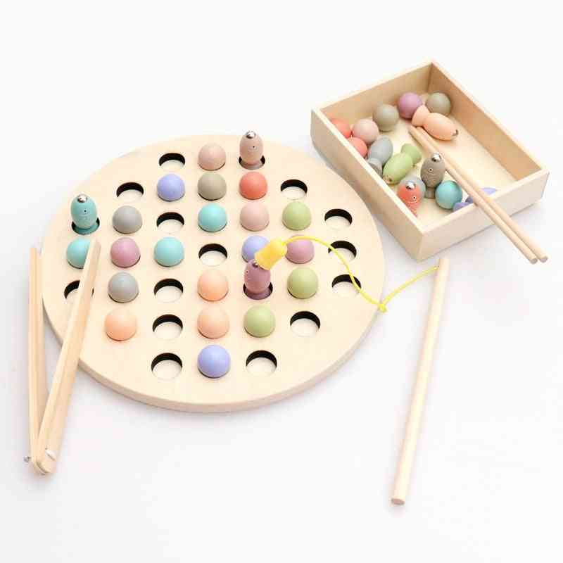 Wooden Early Learning Educational - Clip Beads Magnetic Fishing Game