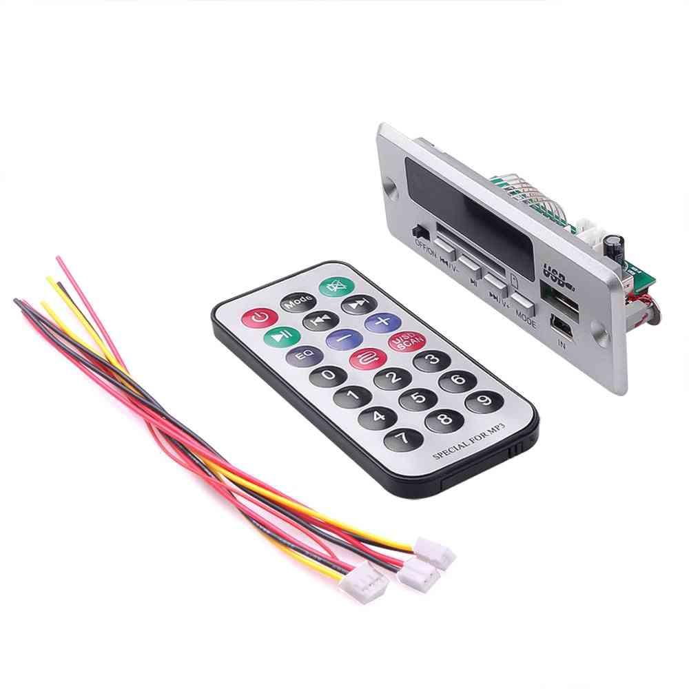 Wireless Bluetooth 5.0 Mp3 Decoding Board Module - Car Usb Mp3 Player Tf Card Slot / Fm / Remote Control