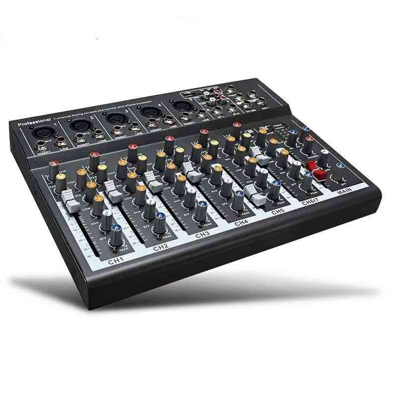7 Channel Digital Microphone Sound Mixer Console, 48v Phantom Power Professional Karaoke Audio Mixer Amplifier With Usb