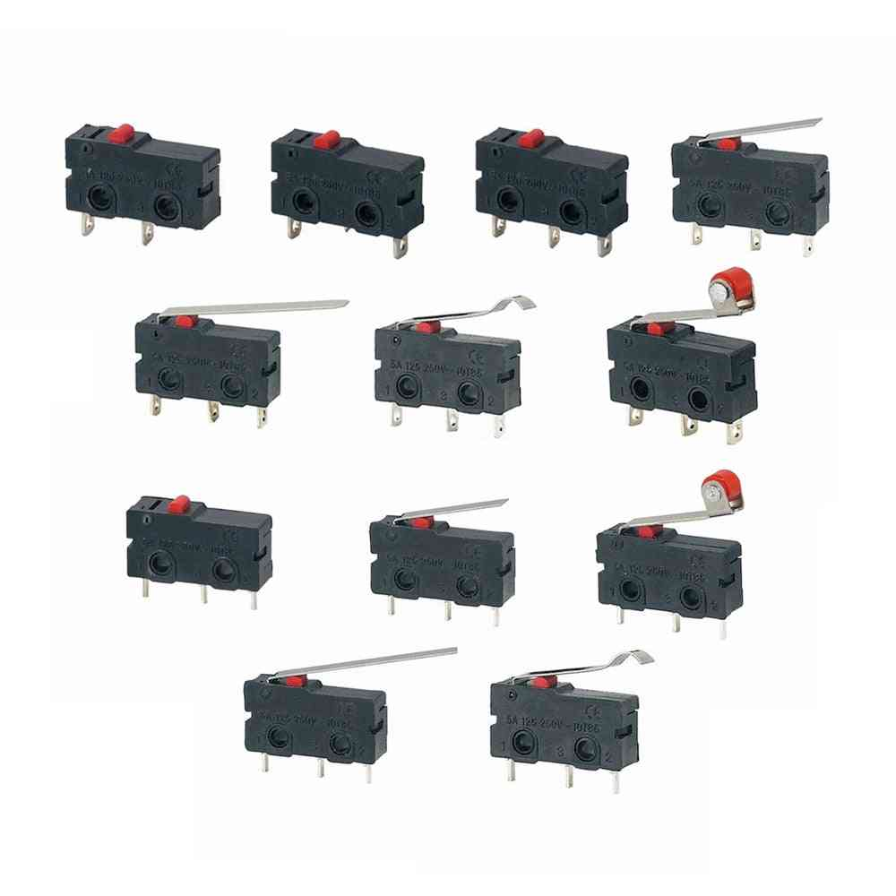 5pcs Push Microswitch, Pcb Terminals - Action Type Spdt, 125v- 250v Arc Lever