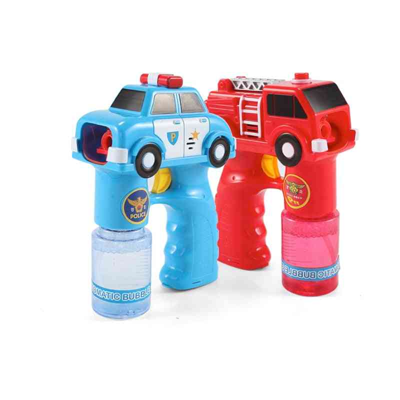Outdoor Electric Kids Bubble Maker For - Fire Engine Car Soap Blowing Bubbles Gun Machine Music With Light Water Guns