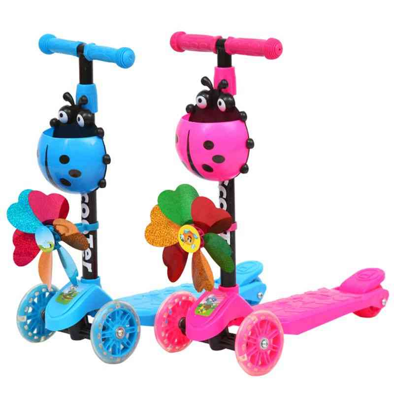 Windmill Ladybug Scooter Foldable And Adjustable Height Lean To Steer Wheel Toy