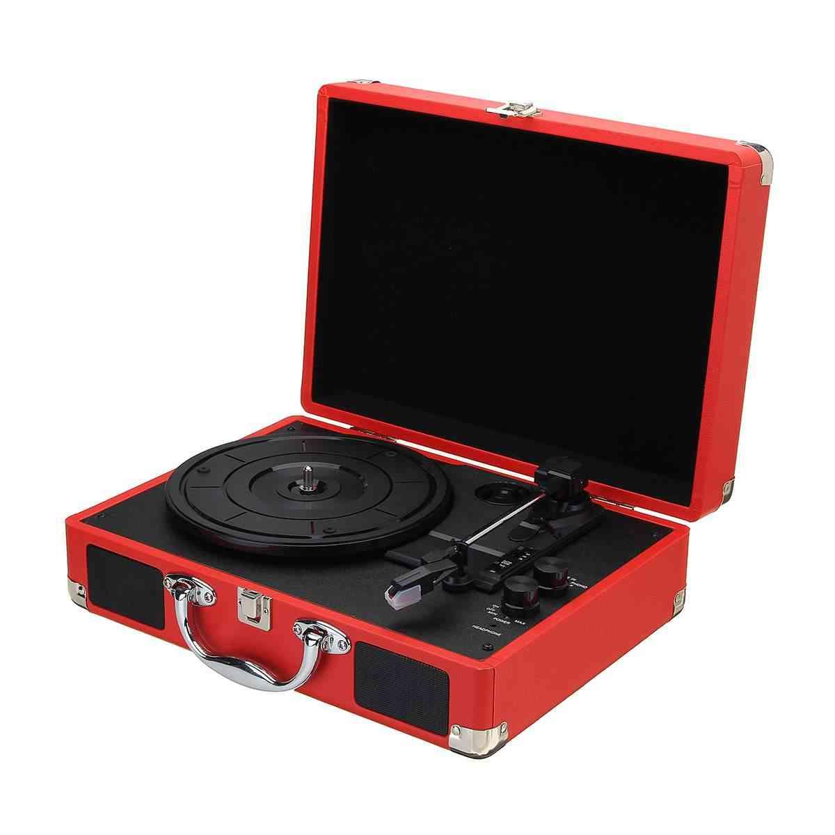 Plastic Wood Retro Rpm Bluetooth Suitcase, Turntable Vinyl Lp Record Phone Player