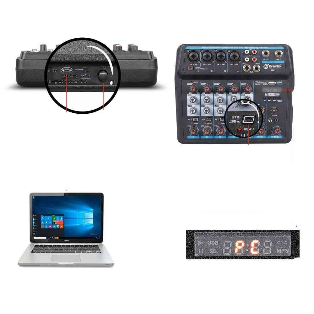 Protable Digital Audio Mixer Console With Sound Card, Bluetooth And Usb Phantom Power