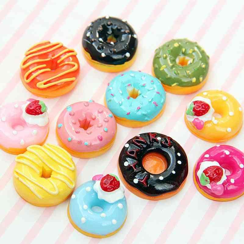 Set Of Cute Mini Candy Donut, Food Pretend Play- Dollhouse Miniature