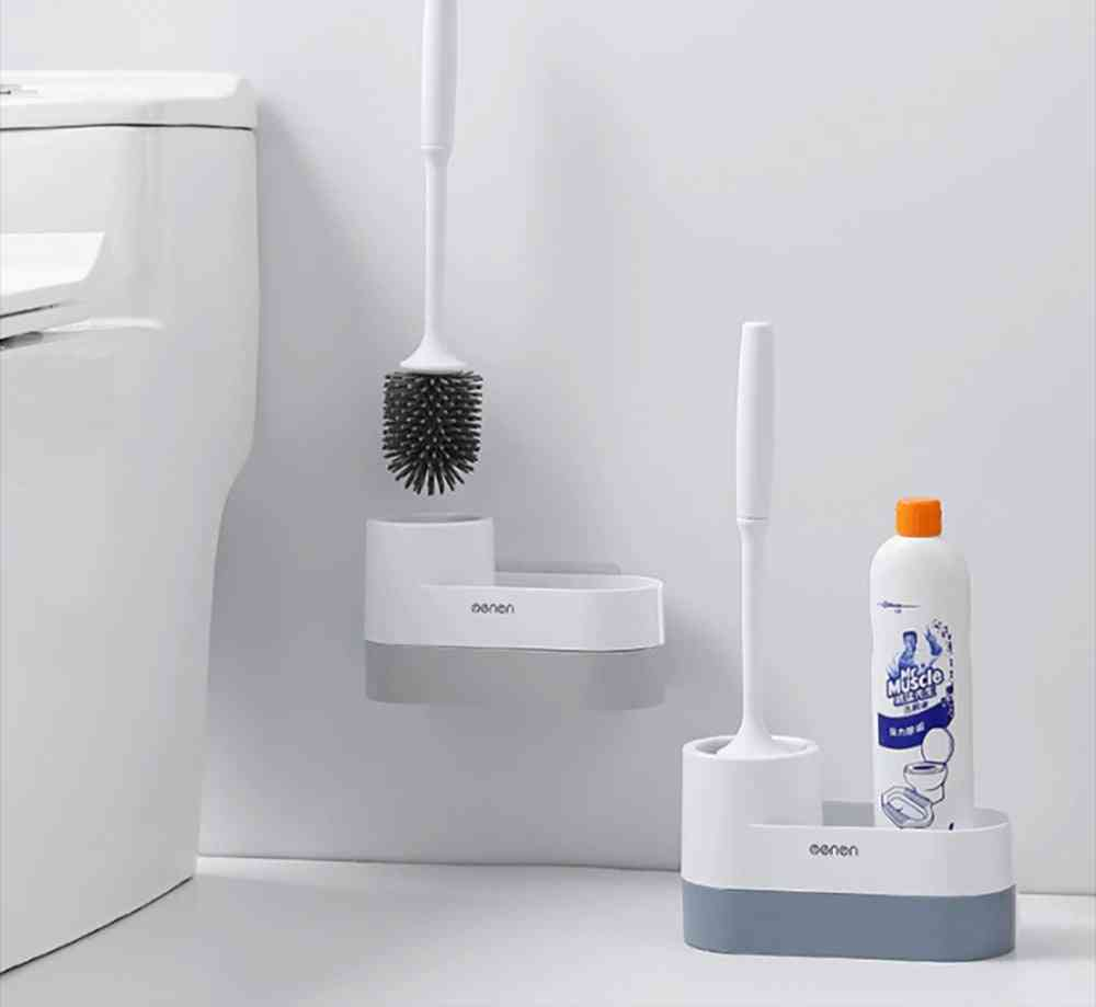Storage Silicone Toilet Brush & Holder - Wall Mounted / Floor Cleaning