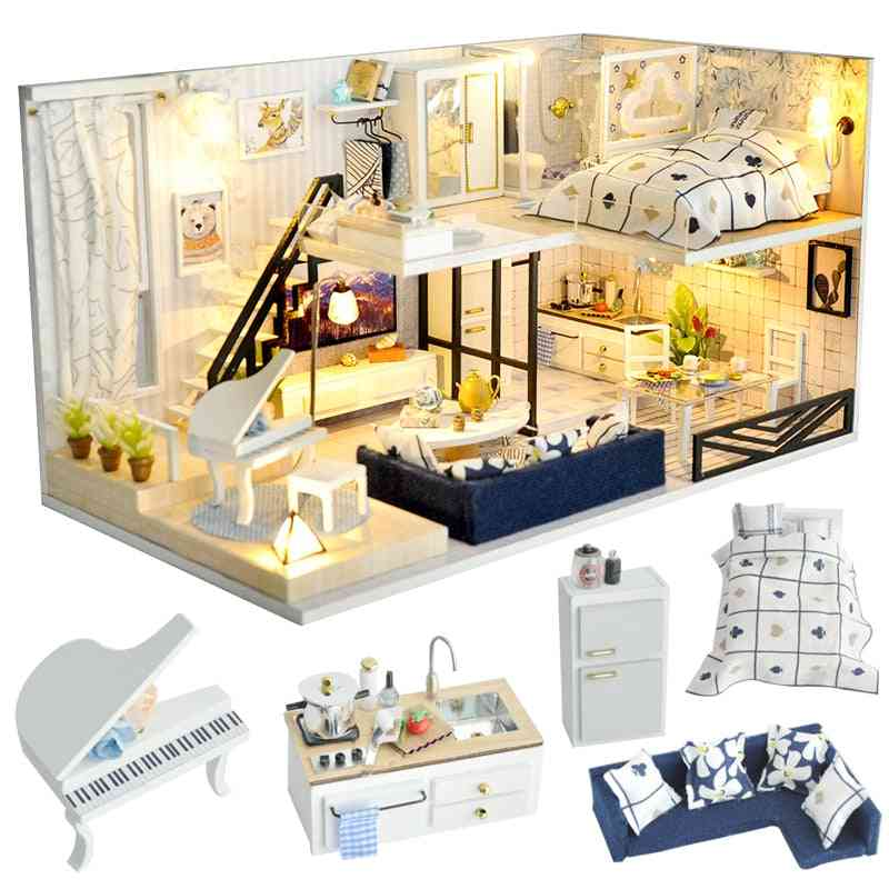 Diy House Miniature With Furniture Led Music Dust Cover Building Blocks For